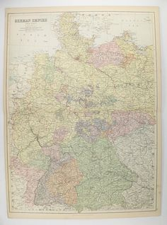 1884 A C Black Germany Map, Antique Map West Germany, German Empire Map, Historical Map, Gift for History Buff, Germany Wall Décor available from OldMapsandPrints.Etsy.com #WestGermany #Germany #GermanEmpireWesternPart #AntiqueMapofGermany