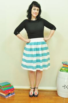 Aqua and White striped Gathered Anne Full skirt by SandeeRoyalty