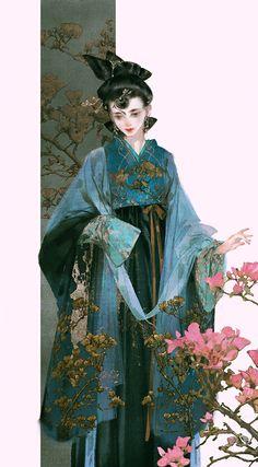 """""""美人画 """" Paintings of beauties in traditional Chinese hanfu, Part 4 (Part by Chinese artist 伊吹鸡腿子. Character Illustration, Illustration Art, China Art, China China, Hanfu, Japanese Art, Art Girl, Character Art, Fantasy Art"""