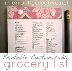 Printable Grocery List by Infarrantly Creative #freeprintables