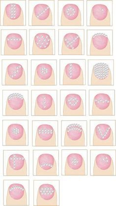 Different diamanté nail styles, nail designs with studs, glitter rhinestones. Buy Swarovski Crystals @ http://www.crystal-beads.co.uk/swarovskielements/3-swarovski-flatback-rhinestones-glue-on-gems