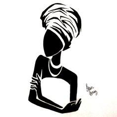 African Drawings, African Artwork, African Art Paintings, Black Girl Art, Black Art, Art Girl, African Tattoo, Silhouette Art, Black Woman Silhouette
