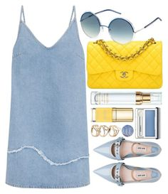 """""""Chic"""" by smartbuyglasses-uk ❤ liked on Polyvore featuring Chanel, M.i.h Jeans, Marc Jacobs, Sisley, Miu Miu, Clinique, Dolce&Gabbana, yellow, Blue and marcjacobs"""