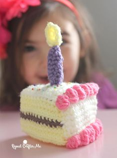 Crochet Slice of Birthday Cake by Repeat Crafter Me