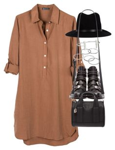 """Outfit with a shirt dress"" by ferned on Polyvore featuring United by Blue, Givenchy, rag & bone, Forever 21, Apt. 9 and French Connection"