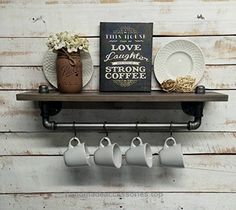 Industrial kitchen shelf, Rustic kitchen shelves, Black Iron Pipe, wall hanging, industrial décor, coffee bar and pot hanger décor home  Check It Out Now     $80.00    This stunning industrial kitchen shelf with iron pipe, towel bar, and four hooks is assembled out of black steel pipe ..  http://www.handmadeaccessories.top/2017/03/17/industrial-kitchen-shelf-rustic-kitchen-shelves-black-iron-pipe-wall-hanging-industrial-decor-coffee-bar-and-pot-hanger-decor-home/