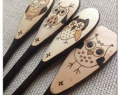 Custom Wood Burned Owl Spoons 4 Expressions Owls by SueMadeThat