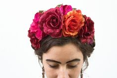 Dia de los Muertos Flower Crown, Frida Kahlo Costume, Day of the Dead, All Saints Day, Pink, Orange, Floral Headpiece, Floral Crown, Mexican by BloomDesignStudio on Etsy https://www.etsy.com/listing/251624744/dia-de-los-muertos-flower-crown-frida