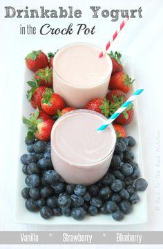 Delicious & healthy homemade yogurt in the crock pot for cheaper than the leading organic brand! Yogurt Recipes, Milk Recipes, Baking Recipes, Whole Food Recipes, Paleo Yogurt, Yummy Yogurt, Syrup Recipes, Breakfast Crockpot Recipes, Healthy Dessert Recipes