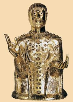 Unknown Goldsmith  French Reliquary Bust of St Baudime 1150-1200 Copper-gilt over wooden core  Church of Saint-Nectaire  Saint-Nectaire  French
