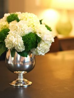 silver, moss, and hydrangeas.....lovely