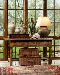 British Colonial desk with wicker boxes. A timeless classic. British Colonial desk with wicker boxes. A timeless classic. West Indies Decor, West Indies Style, British Colonial Decor, Asian Home Decor, Interior Decorating, Interior Design, Colonial Decorating, Decorating Ideas, Tropical Decor