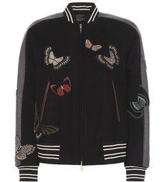 Valentino Beaded Virgin Wool Bomber Jacket For Spring-Summer 2017