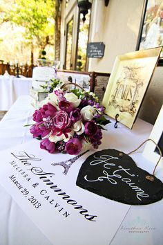 purple rose and tulip bridal bouquet Parisian themed wedding chalkboard signs  Lee James Floral http://www.heatherricephotography.com