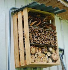 Insect hotel made out of apple crate /box