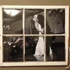 Old, wood window repurposed as frame for a Wedding Photo