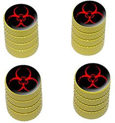 "(4 Count) Cool + Custom ""Diamond Etching Red Biohazard Symbol Top with Easy Grip Texture"" Tire Wheel Rim Air Valve Stem Dust Cap Seal Made of Genuine Anodized Aluminum Metal {Yellow + Black Colors} mySimple Products http://www.amazon.com/dp/B013FEHHYY/ref=cm_sw_r_pi_dp_TszGwb0FB3DAB"
