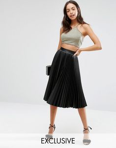 Closet+Pleated+Coated+Midi+Skirt
