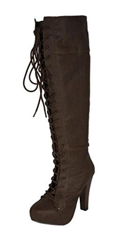 Qupid Womens Puffin74 Knee High Lace Up Chunky Heel Platform Boots brown leatherette 7 M US *** Check this awesome product by going to the link at the image.(This is an Amazon affiliate link and I receive a commission for the sales)