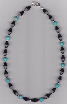 Turquoise Stone & Black Bicone Beaded Necklace