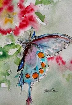"Contemporary Fine Art International: Butterfly Art Painting Watercolor ""Butterfly"" by Georgia Artist Pat Warren"