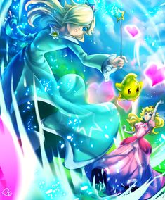 Mario: Rosalina vs Peach by Bryan Golden / KagomesArrow77