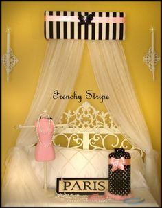 Bed Crown. French Paris Stripe Pink Black White Upholstered by SoZoeyBoutique, $38.99