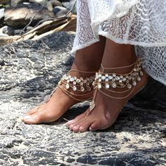 Gold Barefoot Sandals with silver Jewels for boho by ForeverSoles