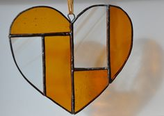 Folksy stained glass heart amber | Glass Crafts | Popular Crafts | Craft Juice