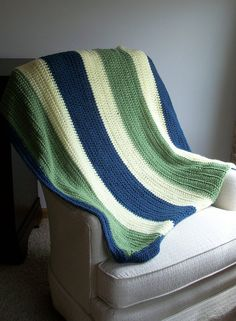 Blue ivory and green striped toddler / youth by crochetconcepts on #etsy #crochet #baby #blanket #afghan
