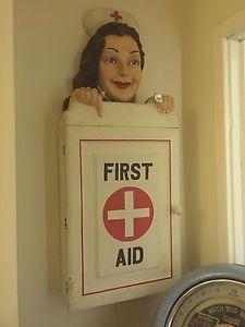 Antique-Vintage-Very-Special-Large-Nurse-First-Aid-Cabinet-Unique-Item