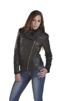 Leather jacket art pd120 giubbino in pelle, chiodo nero