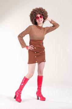 70s vestido cafe con cuadritos
