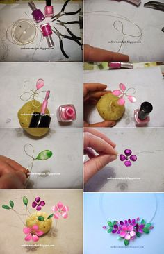Spring wire necklace with nail polish | How to make...