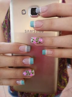 Perfect Nails, Fabulous Nails, Dot Nail Designs, Oval Nails, French Tip Nails, Flower Nail Art, Nail Studio, Super Nails, Finger