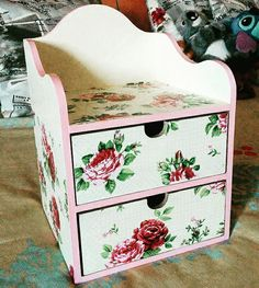 Fashion box decorated with decoupage in roses pattern  #olga_workshop #decoupage #decor #handmade #roses