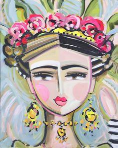 Warrior Girl, peinture, portrait de FRIDA, visages abstraits, Maren Devine, grand art