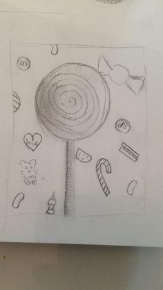 dit is een van mijn drie schetsen. dit is het bovenste deel van de tekening. helaas ga ik de achtergrond met allemaal snoepjes niet doen aangezien ik nog maar heel weinig tijd heb.