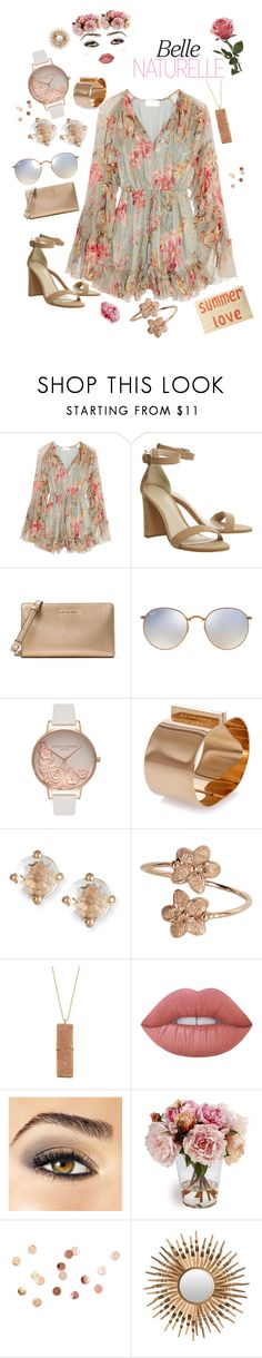 """""""Summer Date Night"""" by carlenewright ❤ liked on Polyvore featuring Zimmermann, MICHAEL Michael Kors, Ray-Ban, Olivia Burton, Dsquared2, Suzanne Kalan, Chan Luu, Lime Crime, Avon and Umbra"""