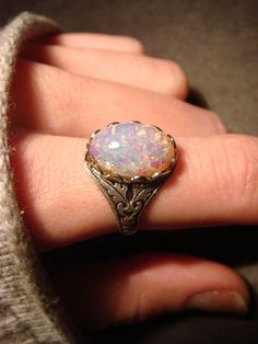 Victorian Style Fire Opal Antique Silver Ring