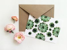 Succulents Collage blank cards white set of 4 by MilesOfLight, $12.00