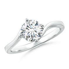 Angara Prong Set Round Diamond Solitaire Ring 28TXm