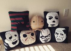 Horror pillows from moodyvoodies #movieroomdecor