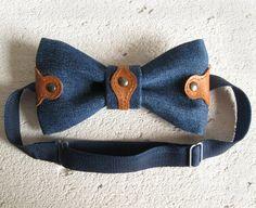 Men's denim leather riveted bowtie gift for men guy boy pretied bow tie butterfly blue brown #bowtie #jean