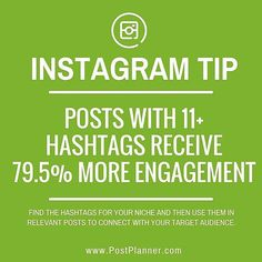 Did you know: Instagram posts with 11 or more hashtags receive 79.5 percent more engagement?! (via @QuickSprout) ... Got this #Repost from @postplanner and they are a great resource to follow!