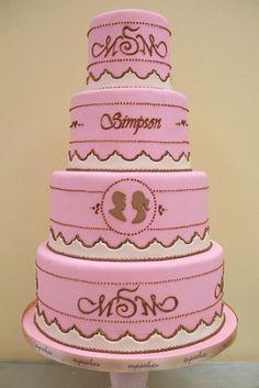 Pink wedding cake with monogram. by TinyCarmen