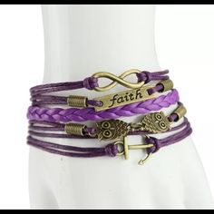 """Infinity Owl Faith Purple Leather Bracelet New Infinity Owl Faith Purple Leather Bracelet New~6 1/2"""" adjustable~Lobster Claw Clasp with extended chain~New Jewelry Bracelets"""