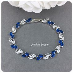 Crystal Leaf Bridal Bracelet Something Blue for Wedding Wedding Bracelet, Wedding Jewelry, Pearl Bracelet, Beaded Bracelets, Something Blue, Bracelet Making, Wedding Accessories, Bridesmaid Gifts, Custom Jewelry