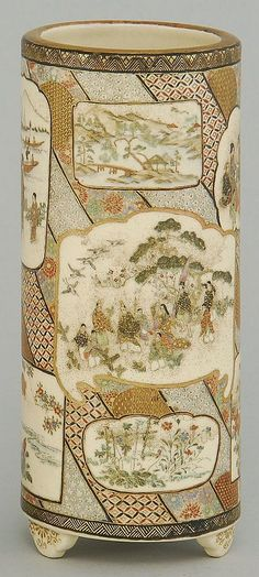 Lot 255: SATSUMA POTTERY CYLINDER VASE With figural and landscape cartouches on a brocade ground. Black and gold signature on base. Height 7¼... - Eldred's | Invaluable