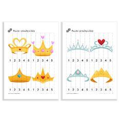 Puzzle - proužky s čísly - Koruny Puzzle, Crowns, Princesses, Numbers, Puzzles, Princess, Crown, Crown Royal Bags, Puzzle Games